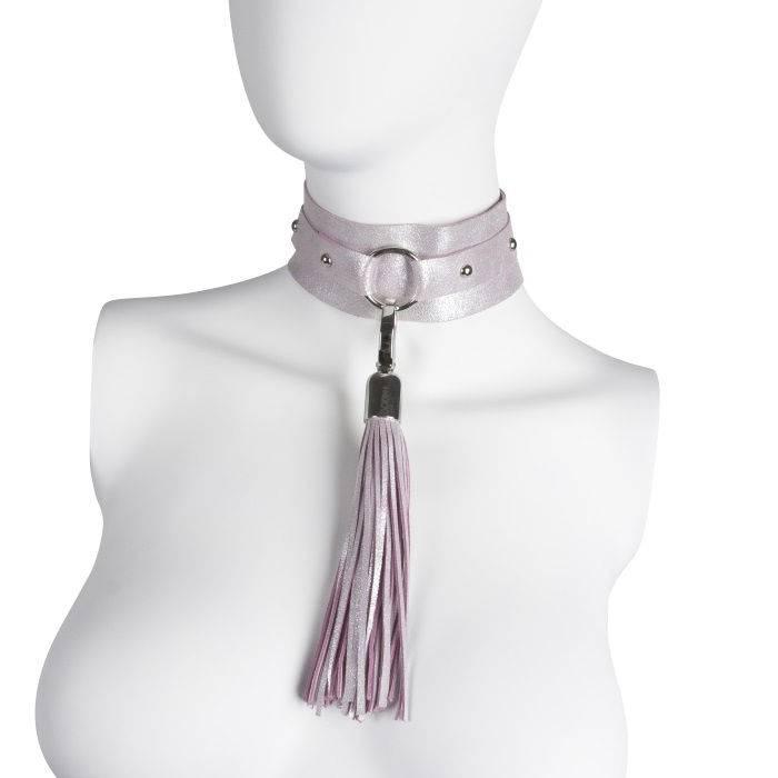 akcesoria erotyczne: Choker XL – perłowy // szeroki choker
