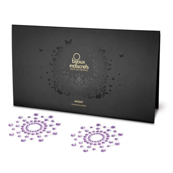 akcesoria erotyczne: dodatek erotyczny biżuteria erotyczna Mimi – purpurowe // naklejki na sutki