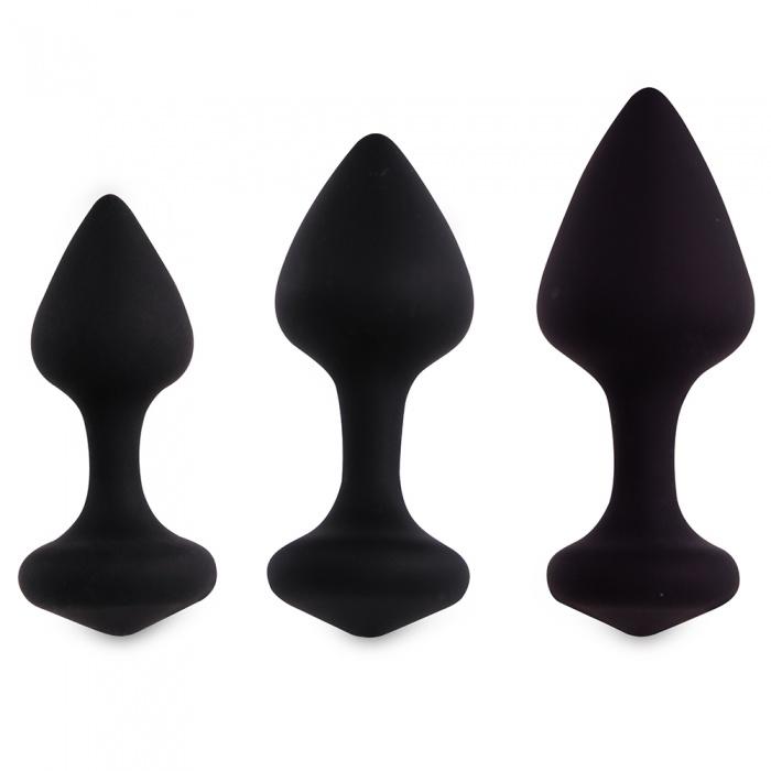 akcesoria erotyczne: Bibi Butt Plug – czarne // zestaw 3 korków analnych